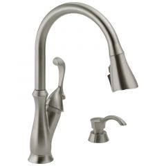 Delta - Arabella Single Handle Pull-Down Kitchen Faucet with Soap Dispenser and ShieldSpray