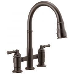 Delta - Broderick Two Handle Pull-Down Bridge Kitchen Faucet