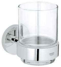 Grohe - Essentials Chrome Crystal Glass with Holder