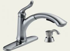 Delta - Linden Series Kitchen Faucet - With Soap Dispenser Single Handle - Pull Out Spray