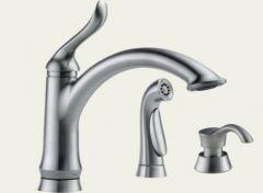 Delta - Linden Series Kitchen Faucet - With Soap Dispenser Single Handle