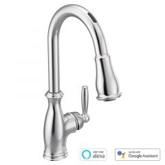 Moen - U by Moen Brantford MotionSense Voice-Activated One-Handle High Arc Pulldown Kitchen Faucet