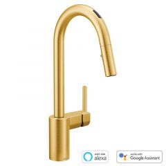 Moen - U by Moen Align MotionSense Voice-Activated One-Handle High Arc Pulldown Smart Kitchen Faucet
