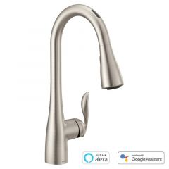 Moen - U by Moen Arbor MotionSense Voice-Activated One-Handle High Arc Pulldown Kitchen Faucet