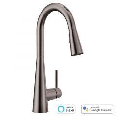 Moen - U by Moen Sleek MotionSense Voice-Activated One-Handle High Arc Pulldown Kitchen Faucet