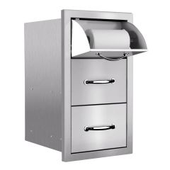 SSTDC-17M - Summerset - Masonry Storage & Access Components - 17in Vertical 2-Drawer & Paper Towel Holder Combo Masonry