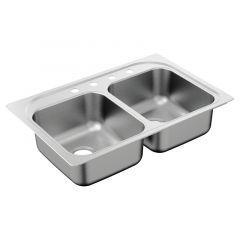 Moen - 2000 Series 33in x 22in Stainless Steel 20 Gauge - 4-Hole Double Bowl Drop In Sink - Rear Drain Hole