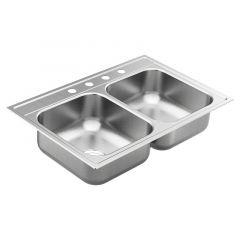 Moen - 1800 Series 33in x 22in Stainless Steel 18-Gauge Double Bowl Drop In Sink