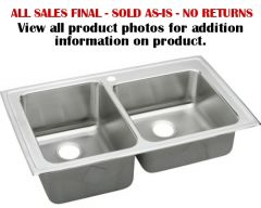 Elkay - Gourmet Series Lustertone 37in x 22in x 10in Offset Double Bowl Top Mount Sink