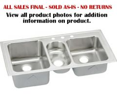 Elkay - Gourmet Series Lustertone 43in x 22in x 10in Triple Bowl Top Mount Sink