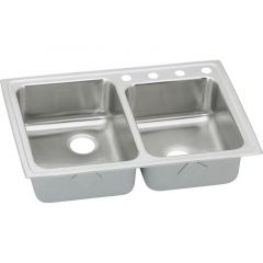 Elkay - Lustertone Classic 33in x 22in x 7-7/8in Offset Double Bowl Drop-in Sink