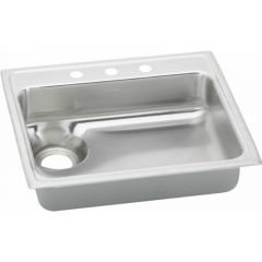 Elkay - Lustertone 25in x 22in x 6-1/8in 18-Gauge Single Bowl Top Mount Sink with 4 Faucet Holes