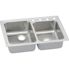 Elkay - Pacemaker 33 Inch Top Mount Double Bowl Stainless Steel Sink with 20-Gauge - 7-1/8 Inch Bowl Depth