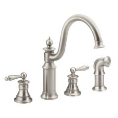 Moen - Premium Waterhill Series Two Handle Kitchen Faucet Kitchen Faucet with Side Spray