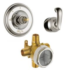Delta - Cassidy Diverter Trim 3-Function + Valve + French Curve Lever Handle Combo Package