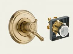 Delta - Cassidy Series Trim + Rough - In Valve Combo Package Pressure Balanced - Single Handle Valve Only