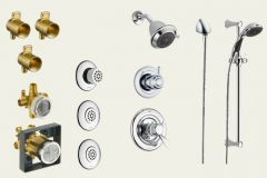 Delta - Innovations Series And Hand Held Shower Trim And Valve Combo Package Single Handle Shower With Body Spray