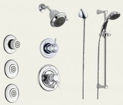 Delta - Innovations Series With Body Spray and Hand Held Shower Trim Kit Single Handle Shower