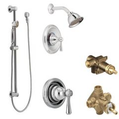 Moen - Kingsley Vertical Spa Posi-Temp Shower Head/Hand Shower Combo with Separate Valves