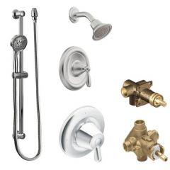 Moen - Brantford Vertical Spa Posi-Temp Shower Head/Hand Shower Combo with Separate Valves