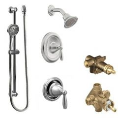 Moen - Brantford Vertical Spa Posi-Temp Shower Head/Hand Shower Combo with Separate Valves