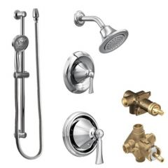 Moen - Wynford Vertical Spa Posi-Temp Shower Head/Hand Shower Combo with Separate Valves