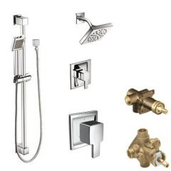 Moen - 90 Degree Vertical Spa Posi-Temp Shower Head/Hand Shower Combo with Separate Valves