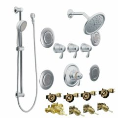 Moen - Premium ExactTemp Series Vertical Spa Trim + Rough - In Valve Combo Package Flush Body Sprays - 3/4in  Thermostatic -
