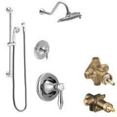 Moen - Weymouth Vertical Spa Posi-Temp Shower Head & Hand Shower with Separate Valves