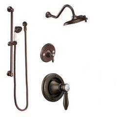 Moen - Weymouth Vertical Spa Posi-Temp Shower Head & Hand Shower Combo - Trim Only