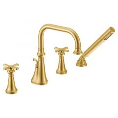 Moen - Colinet Two-Handle High Arc Roman Tub Faucet with Handshower and Cross Handles