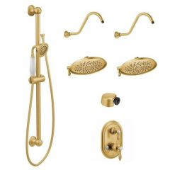 Moen - Weymouth Vertical Spa with Hand Held and Two 8-Inch Rainshower Shower Heads Kit - Trim Only